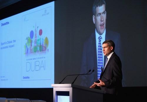 Dan Jones reviewed the Deloitte report at Host Cities 2015 in Dubai (PRNewsFoto/vision.ae) (PRNewsFoto/vision.ae)