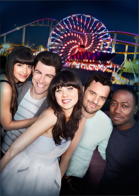 (L-R): Hannah Simone as Cece, Max Greenfield as Schmidt, Zooey Deschanel as Jess, Jake Johnson as Nick and Lamorne Morris as Winston in NEW GIRL.  (PRNewsFoto/Netflix, Inc.)