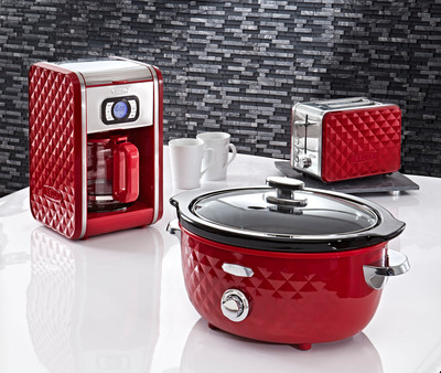 The BELLA Diamonds Collection In Red.  BELLA Expands Its Fashionable Line Of Specialty Kitchen Appliances With The Launch Of The BELLA Diamonds Collection.  Available At JCP Stores Nationwide.  www.BellaHousewares.com or www.Facebook.com.  (PRNewsFoto/Sensio Inc.)