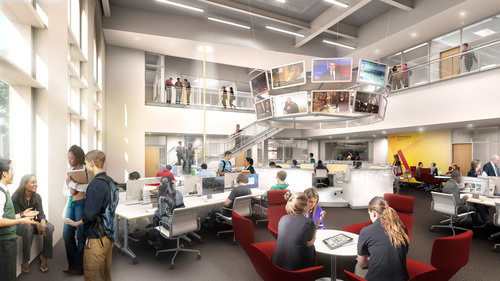 Plans for the new 88,000-square-foot, five-floor building, scheduled to open in the fall of 2014, call for a technologically transformative jewel in the center of USC's campus.  (PRNewsFoto/USC Annenberg School for Communication and Journalism)