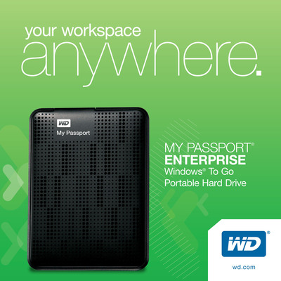 WD(R) Portable Hard Drives Certified For Use With Windows To Go.  (PRNewsFoto/WD)