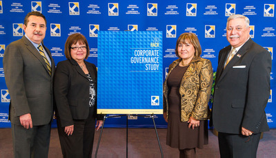 On Dec. 18, the Hispanic Association on Corporate Responsibility (HACR) through its research arm, the HACR Research Institute, released the findings of its 2013 Corporate Governance Study. Conclusions reveal little progress for Hispanic inclusion on corporate boards over the last 20 years. Full results of the study can be found on HACR's website,  www.hacr.org . Pictured from Left to Right are: Dr. Antonio Flores (HACU), HACR Board Chair Margaret Moran (LULAC), Cecelia Espenoza (NHLI), and Luis A. Vasquez-Contes (American GI Forum of the United States). (PRNewsFoto/Hispanic Association on Corporate Responsibility (HACR)) (PRNewsFoto/HACR)