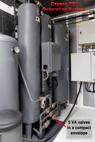 VA Valves on an Oxygen PSA generation system.  (PRNewsFoto/Assured Automation)