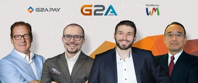 Picture shows: G2A.COM Executive VP of Global Payments Bob Voermans, co-founder /CEO Bartosz Skwarczek, Co-founder /CMO, Dawid Rozek and Toshifumi Tsukada, CEO of WebMoney Japan. (PRNewsFoto/G2A.com) (PRNewsFoto/G2A.com)