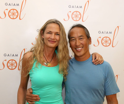World renowned yoga experts Rodney Yee and Colleen Saidman celebrate the launch of the new Gaiam Sol collection of professional quality yoga mats and accessories. This premium collection, developed by yogis for yogis, is crafted from responsibly sourced materials, with an eye toward mindful design and quality construction. In addition to the new yoga products, the Sol Collection continues to feature premium quality yoga mats that meet the technical demands of even the most advanced yoga practitioners and professionals.  (PRNewsFoto/Gaiam, Inc.)