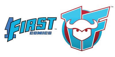 The original 1First Comics logo and the new Devil's Due/1First Comics logo.