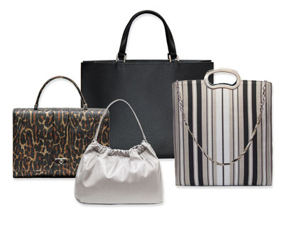 WESTCOTT Handbags, from left to right: Lady Bag (leopard), Betty Bag (silver), GSD Tote (black) and Heidi Tote (stripe).  (PRNewsFoto/Westcott Design Group)