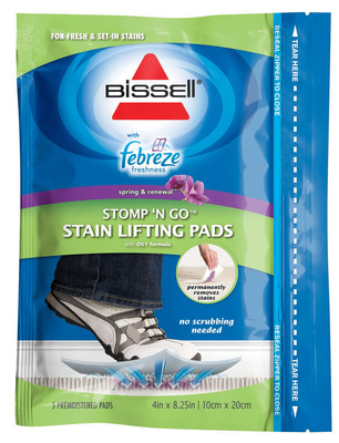 Stomp In Febreze Freshness While Stomping Out Carpet Stains with New BISSELL Stomp 'N Go (R) Pads.  (PRNewsFoto/BISSELL Homecare, Inc.)