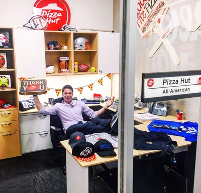 Pizza Hut All-American Jason Fisher in his office