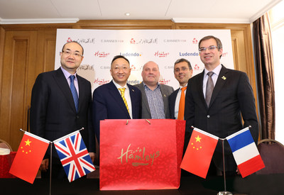 From left to right: Chen Yixi, Chairman of the Board of C.banner, Yuan Yafei, Chairman of Sanpower Group, Gudjon Reynisson, Chief Executive Officer of Hamleys, Jean Micdhel Grunberg, President of Lundendo, Rudolph Hidalgo, Chief Executive Director of Ludendo, attended the press conference.