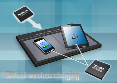 The Toshiba TB6865FG power transmitter and TC7763WBG receiver chipset enables 5-watt wireless power transfer to more quickly charge mobile devices.  (PRNewsFoto/Toshiba America Electronic Components, Inc.)