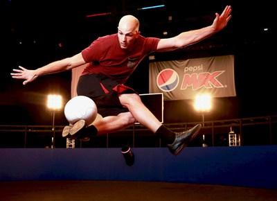 Dan Cutting, Football Freestyler, launches the Pepsi MAX 'Volley 360' ahead of the upcoming UEFA Champions League Final. Photo credit: Matt Alexander (PRNewsFoto/Pepsi MAX)
