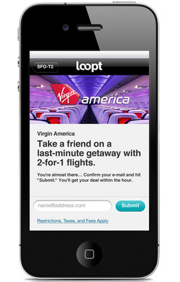"""VIRGIN AMERICA LAUNCHES """"DEALS ON THE FLY"""" WITH LOOPT THROUGHOUT SFO'S TERMINAL 2.  (PRNewsFoto/Virgin America)"""