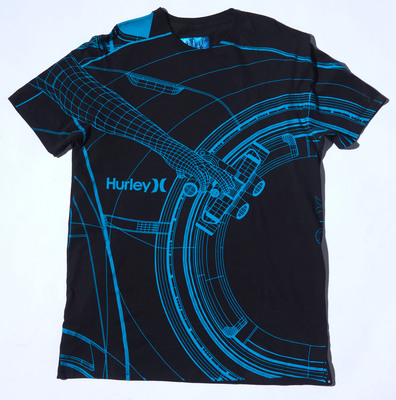 Premium Tee with custom foil Hurley/Tron neck print and glow in the dark screen print this item and more available at www.hurley.com.  (PRNewsFoto/Hurley)