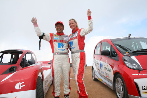 MMNA placed 2nd in the Electric Vehicle Division (8th overall) in the 2012 PPIHC event with the i-MiEV Evolution driven by Hiroshi Masuoka, and achieved an impressive debut in a production 2012 Mitsubishi i-MiEV driven by Beccy Gordon.  (PRNewsFoto/Mitsubishi Motors North America, Inc.)