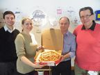 (L-R) - Max Grandison, Oasis Foods New Product Development Manager, Maria Tyrrell, Mike Wood, Oasis Foods Operations Director and David Palmer (Maria's father)