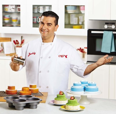 Buddy Valastro, Star of TLC's hit reality show Cake Boss showcases Cake Boss Baking products offered by Meyer Corporation, U.S. in partnership with TLC. (PRNewsFoto/Meyer Corporation)