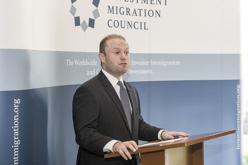 The Hon. Dr. Joseph Muscat, Prime Minister of the Republic of Malta speaking at the first Investment Migration Council Membersâeuro(TM) Lunch in Singapore. (PRNewsFoto/IMC)