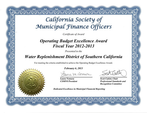 Water Replenishment District Earns Coveted Financial Award.  (PRNewsFoto/Water Replenishment District of Southern California)