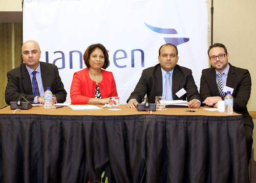 Rishi Maharaj, JanssenCaribbean Area Manager;Joan Craig,Janssen Country Manager South Caribbean;Doctor Krishan Ramsoobhag, Urologist and Oncologist Trinidad & Tobago; andDr. David Muschett,Oncology Medical Manager from Janssen. (PRNewsFoto/Janssen) (PRNewsFoto/JANSSEN)