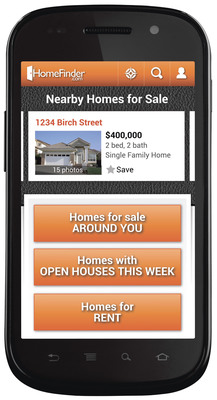 HomeFinder.com Real Estate Android(TM) app offers homebuyers fast, easy to use map-interface and automatic syncing from app to desktop.  (PRNewsFoto/HomeFinder.com)