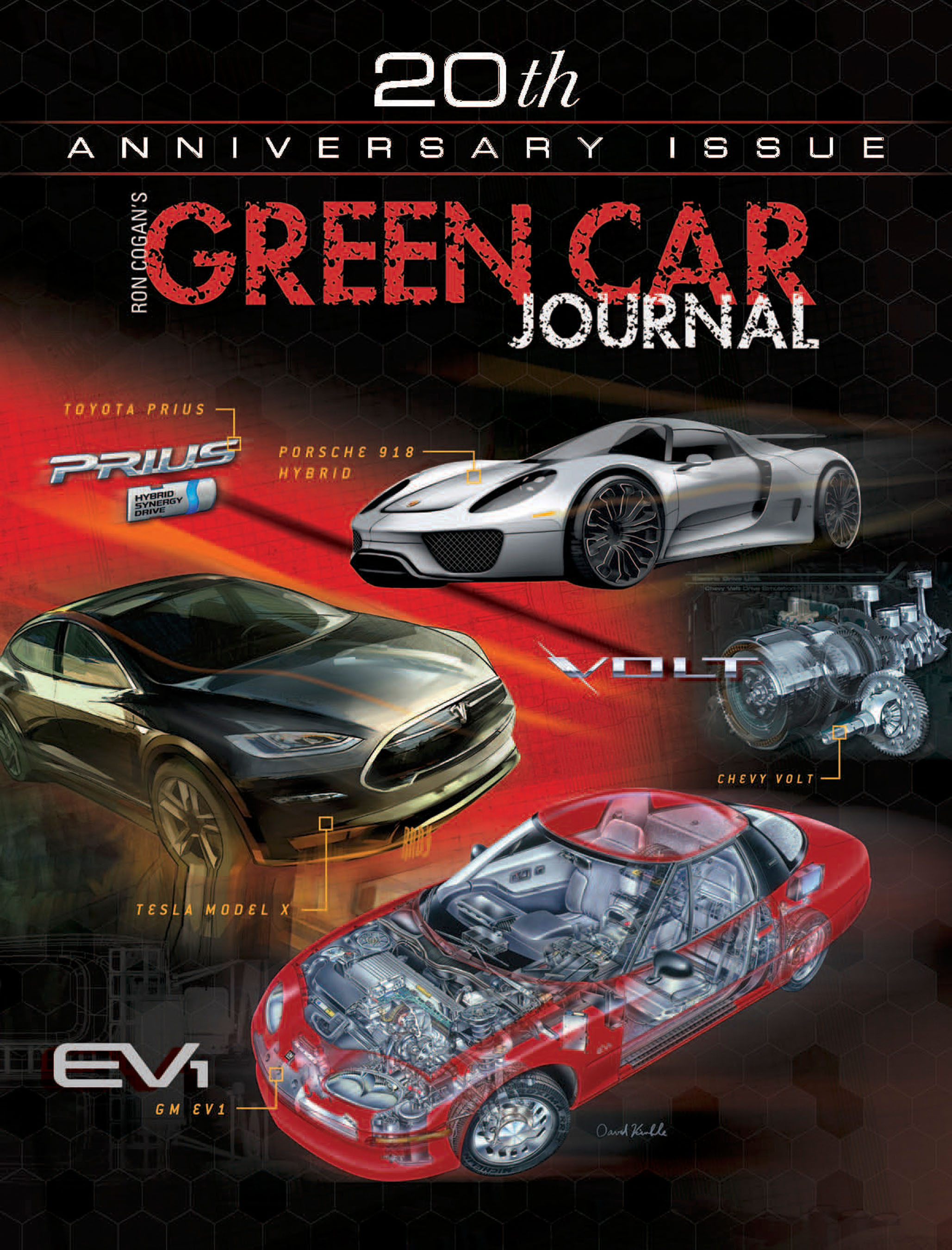 Green Car Journal 20th Anniversary Cover Poster.  (PRNewsFoto/Green Car Institute)