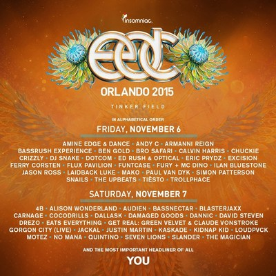 Single Day Tickets and Lineup By Day for Electric Daisy Carnival, Orlando Now Available