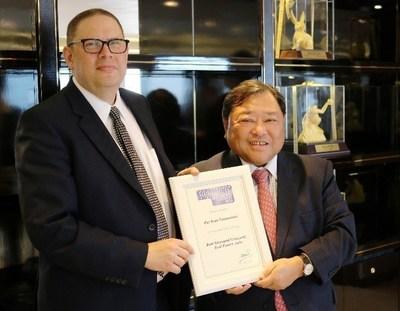 Mr. Andrew Rashbass, CEO of Euromoney, presented the award to Tan Sri Dato' David Chiu, Chairman of Far East Consortium International Ltd.