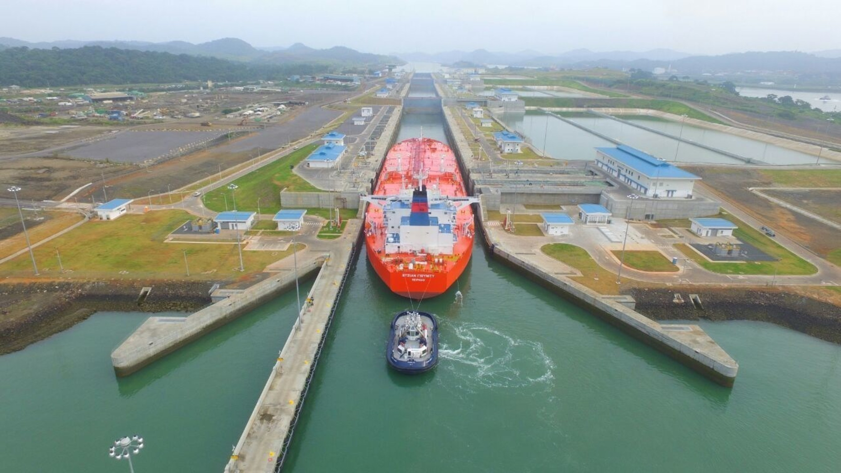 MT Aegean Unity transits the new Panama Canal on August 18, 2016.