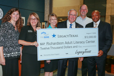"The Richardson Adult Literacy Center (RALC), a nonprofit that provides English as a second language (ESL) instruction to adults, received a $12,000 Partnership Grant Program (PGP) award August 17 from LegacyTexas Bank and the Federal Home Loan Bank of Dallas (FHLB Dallas). The PGP grant will be used to help fund the nonprofit's ""ESL for Adults"" program."