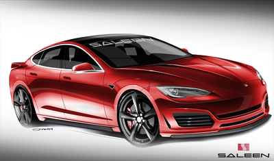 A rendering of the new Saleen Tesla Model S
