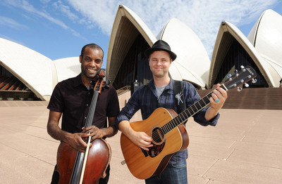 (L to R) English cellist Desmond Neysmith and Australian guitarist Luke Webb (from the Blue Mountains, NSW) Making Tracks at the Sydney Opera House, NSW.