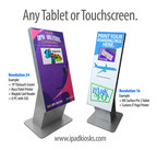 "Kiosk Group's new Revolution 16 and 24 kiosks are designed to hold any iPad, Windows tablet, Android tablet or Elotouch monitor. The Rev16 enclosure features a 16"" by 43"" graphic, and the Rev24 features a massive 24"" x 43"" area for branding. Graphics are included at no extra charge."