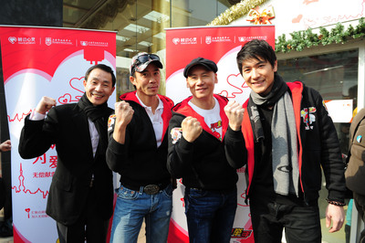 """(From left to right) Shen Xingfeng, Deputy Director of the Shanghai Blood Center, Allan Wu, famous VJ of """"Rush! China"""" and actor, Micky Fung, Founder and Executive Chairman of Touchmedia, Heyson Ma, popular singer together call for blood donation.(PRNewsFoto/Touchmedia)"""