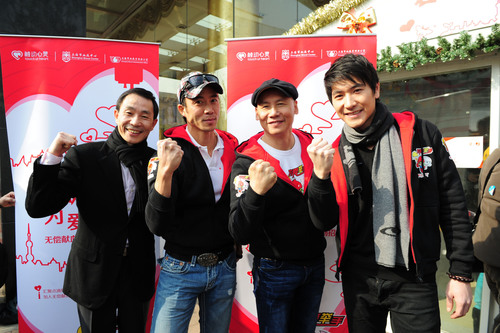 (From left to right) Shen Xingfeng, Deputy Director of the Shanghai Blood Center, Allan Wu, famous VJ of ...