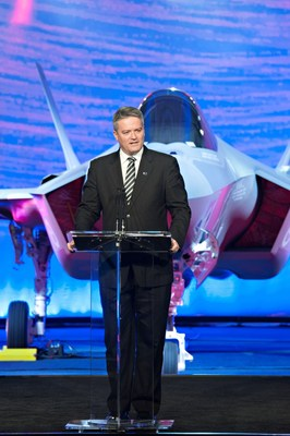 Senator Mathias Cormann, Minister for Finance for Australia, delivers his remarks expressing Australia's support of the F-35 to a crowd of 300 today at the unveiling of first Australian F-35. Lockheed Martin photographer Beth Groom. (PRNewsFoto/Lockheed Martin Aeronautics...)