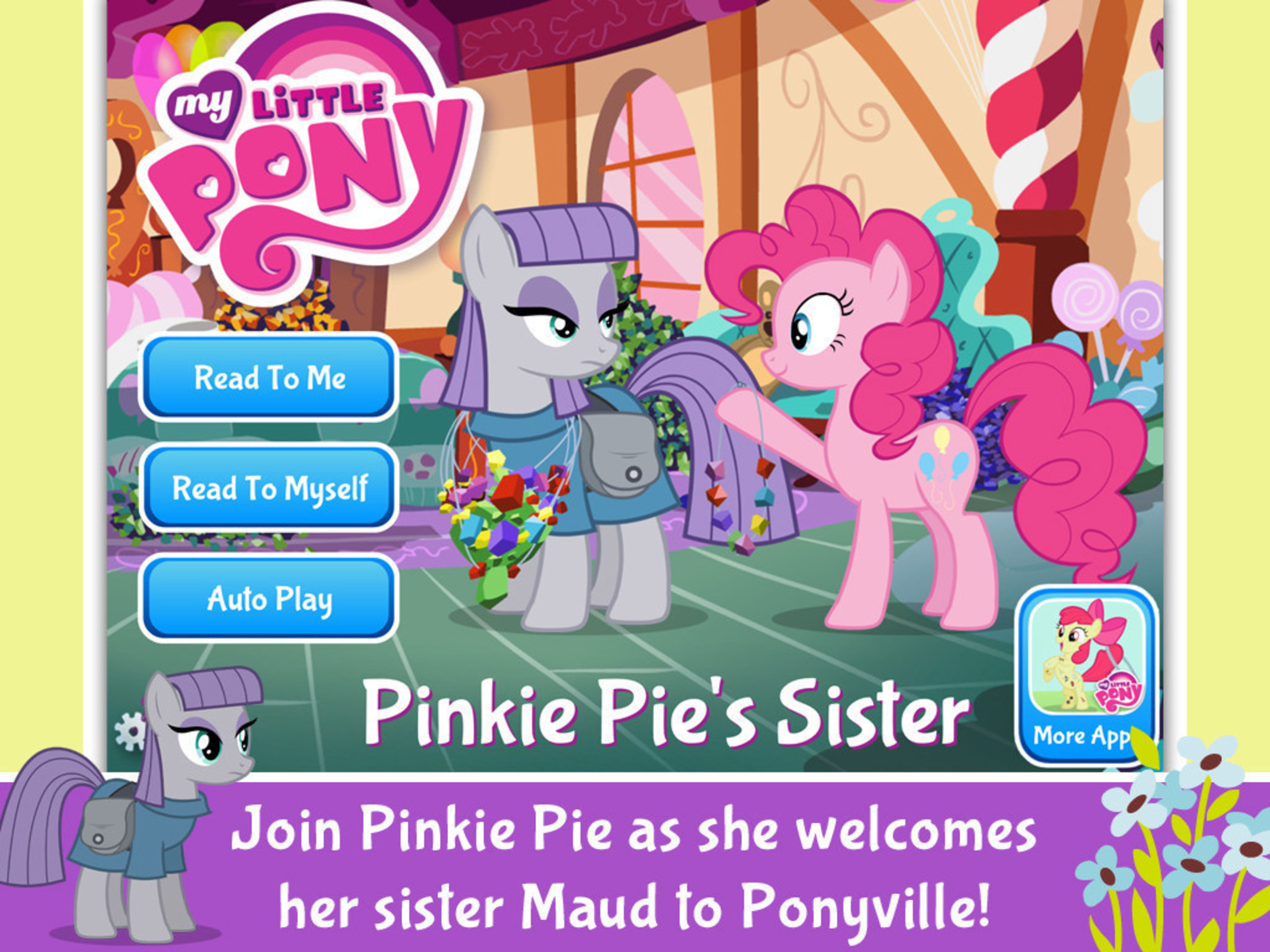 The Ponies Celebrate Differences in the Latest Storybook App MY LITTLE PONY: PINKIE PIE'S SISTER from Hasbro and PlayDate Digital