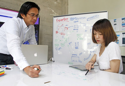 IBM Blockchain user interface designers, Dante Guintu, left and Andrea Lee, work on secure blockchain apps at IBM San Francisco on Tuesday, February 16, 2016. To help developers quickly begin exploring the use of blockchain in the enterprise, IBM today announced new blockchain services on the IBM Cloud and IBM Garages to open in London, New York, Singapore and Tokyo. These and other advancements using IBM Blockchain will rapidly enable the use of distributed ledger technology across multiple industries. (George Nikitin/Feature Photo Service for IBM)