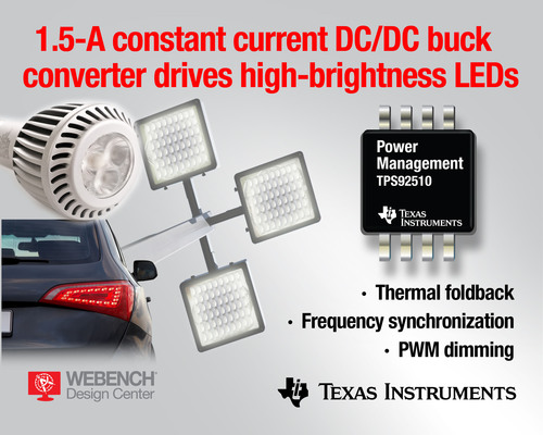 TI LED driver is the first with frequency synchronization, PWM dimming and thermal foldback