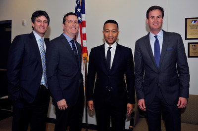 """Executives from Sony Pictures Television and WGN America/Tribune Studios join """"Underground"""" executive producer, John Legend, for a photo just before the White House event. Pictured left to right: Jamie Erlicht, president, U.S. programming and production for Sony Pictures Television (SPT); Matt Cherniss, president and general manager for WGN America/ Tribune Studios; John Legend, executive producer of """"Underground""""; Zack Van Amburg, president, U.S. programming and production for Sony Pictures Television..."""