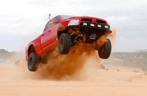 Mopar Ram Runner Smokes Ford SVT Raptor.  (PRNewsFoto/Chrysler Group LLC)