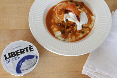 Shrimp and Grits with Roasted Red Peppers, Capers, Lemon and Anchovies featuring Liberte Greek Plain yogurt created by Chef Hugh Acheson, judge on Bravo's Top Chef.  (PRNewsFoto/Liberte)