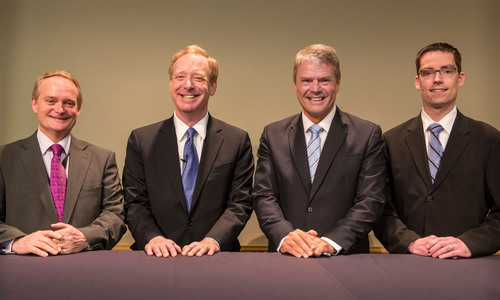 Microsoft signs memorandums of understanding with the Organization of American States, Europol and FIS to increase cooperation in the fight against cybercrime. Left to Right, Ambassador Adam Blackwell, the Organization of American States; Brad Smith, Executive Vice President and General Counsel at Microsoft; Troels Oerting, Assistant Director at Europol; David Dunn, Manager of the Threat Intelligence at FIS.  (PRNewsFoto/Microsoft Corp.)