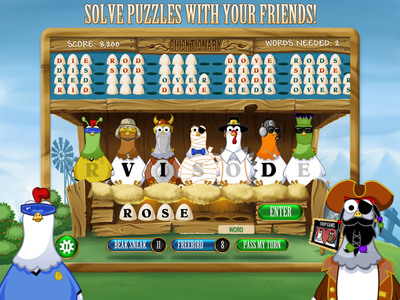 Chicktionary Coop(TM) for iPad - the next generation of the egg-citing word game that engages thousands of users with farm fresh fun.  (PRNewsFoto/Blockdot)