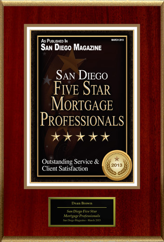 Dean Brown Selected For 'San Diego Five Star Mortgage Professionals'