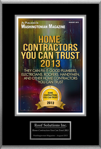 Roof Solutions Inc. Selected For 'Home Contractors You Can Trust 2013'