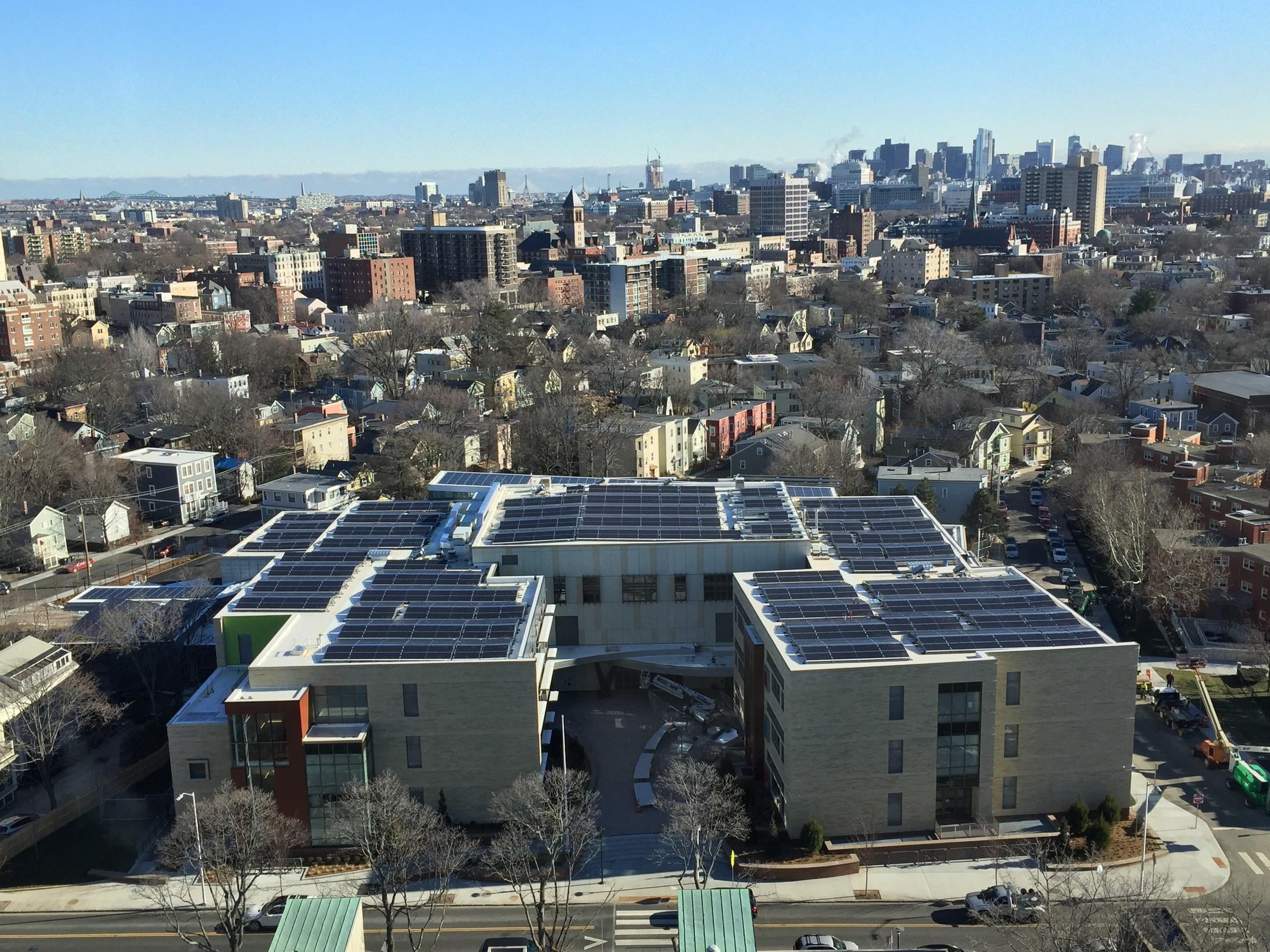 Sunpreme Bifacial PV Panels Installed at MLK School in Cambridge, MA.