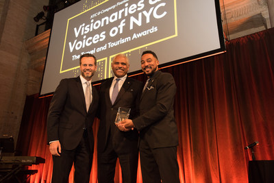 Carnival Corporation and its CEO Arnold Donald (center) were honored by the NYC & Company Foundation, including the organization's president and chairman Fred Davis (left), yesterday evening during the Visionaries and Voices Gala, emceed by Charl Davis (right) at Cipriani 25 in New York City.