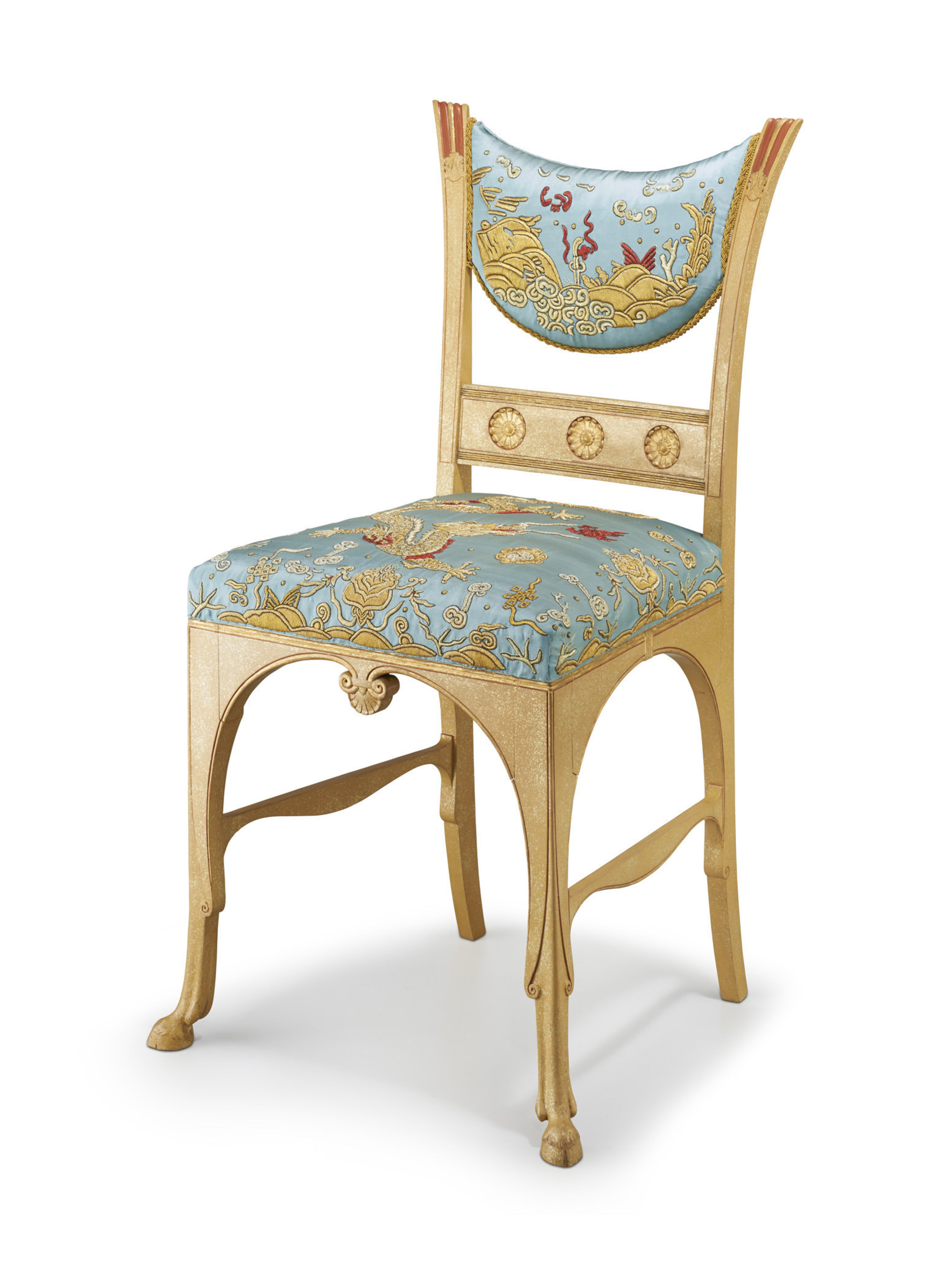 "Associated Artists, LLC. ""Pompeian"" side chair. Herter Brothers. New York c. 1880. Painted and gilt-flecked maple with upholstered seats. Probably commissioned for J. Piermont Morgan's lavish Madison Avenue mansion."