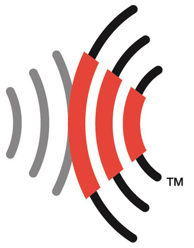 The RFID Consortium logo consists of two sets of opposing concentric curves using three colors: red, grey and ...